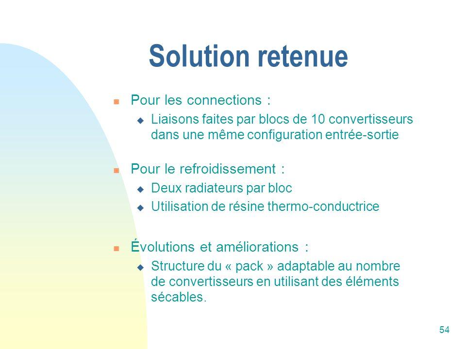 Solution retenue Pour les connections : Pour le refroidissement :