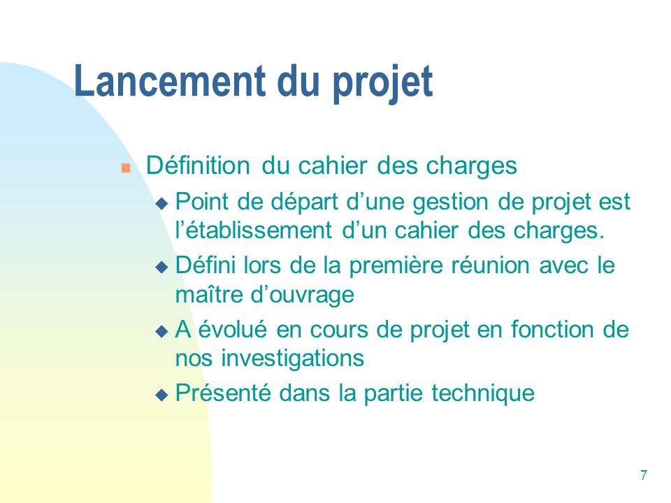 Lancement du projet Définition du cahier des charges