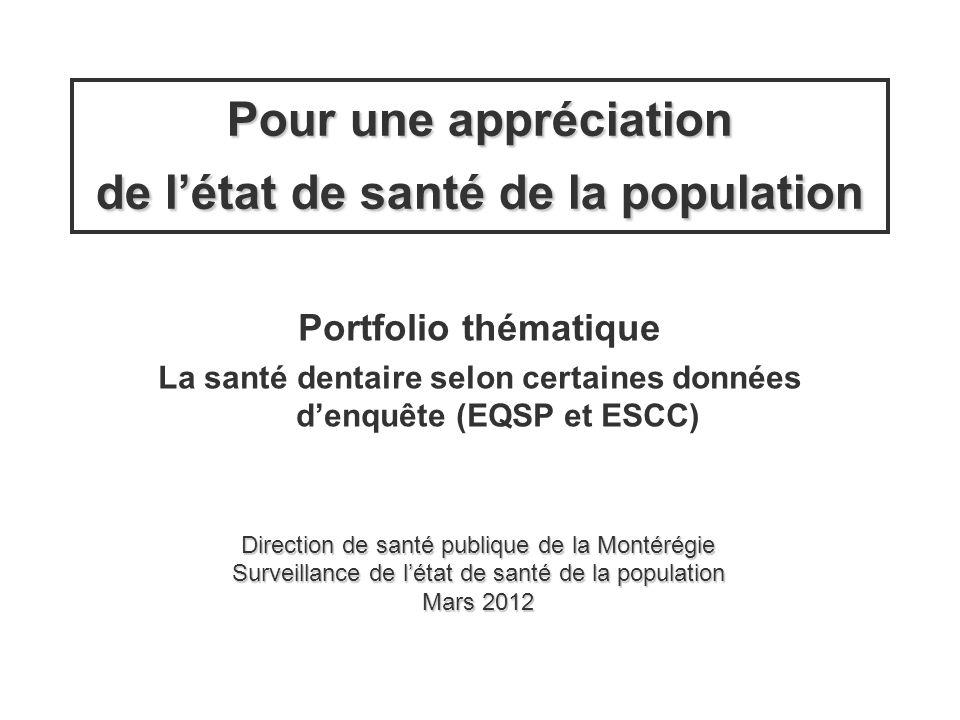 La santé dentaire selon certaines données d'enquête (EQSP et ESCC)