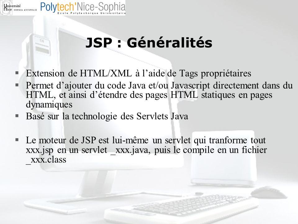 JSP : Généralités Extension de HTML/XML à l'aide de Tags propriétaires