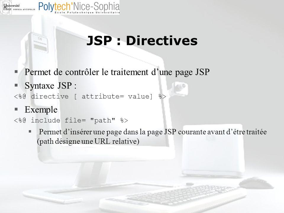 JSP : Directives Permet de contrôler le traitement d'une page JSP