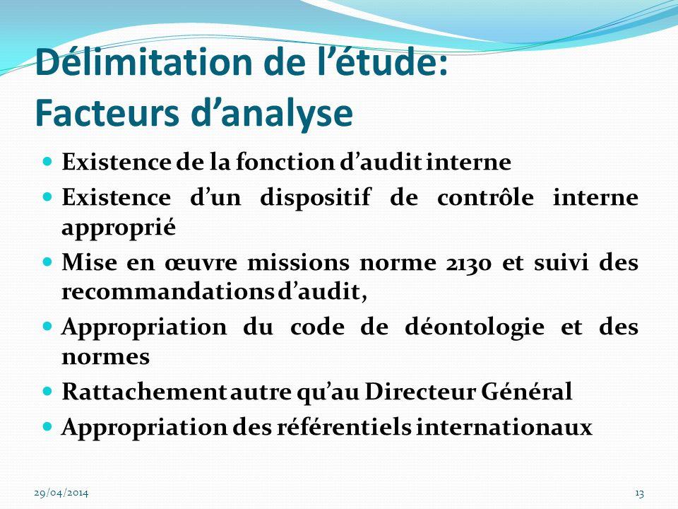 Délimitation de l'étude: Facteurs d'analyse