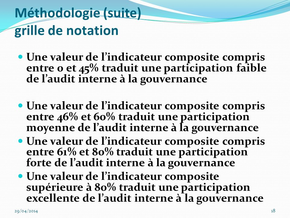 Méthodologie (suite) grille de notation