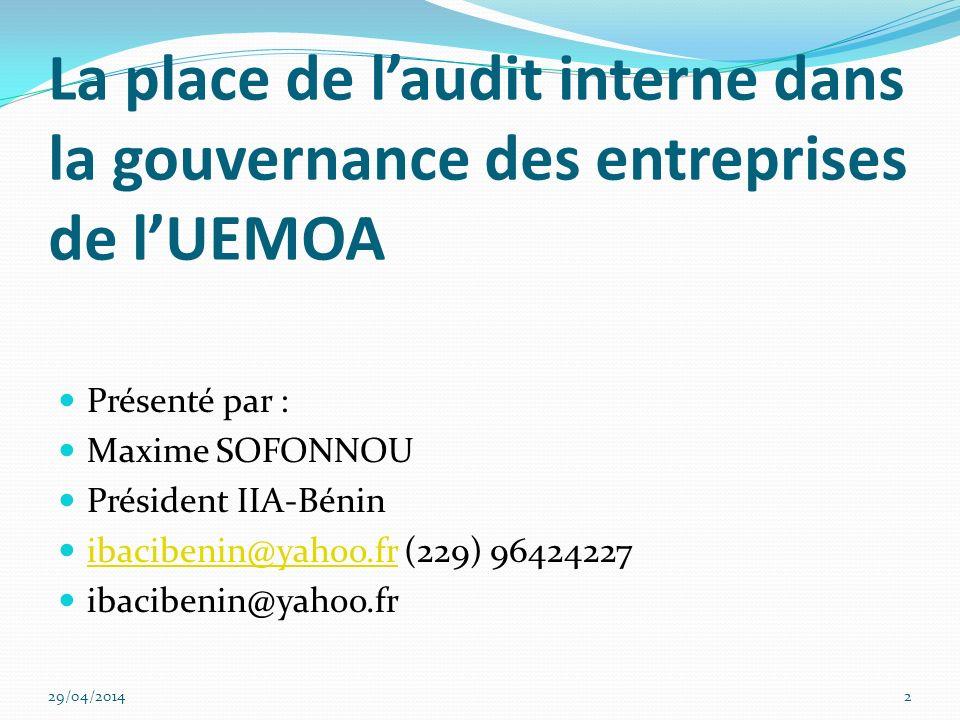 La place de l'audit interne dans la gouvernance des entreprises de l'UEMOA