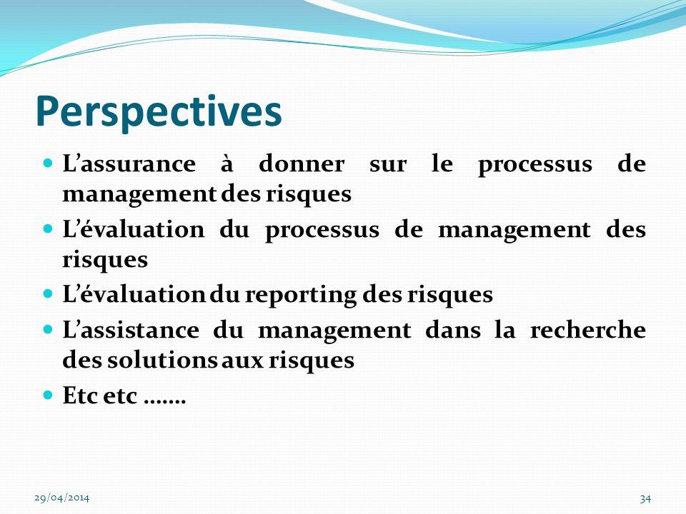 Perspectives L'assurance à donner sur le processus de management des risques. L'évaluation du processus de management des risques.