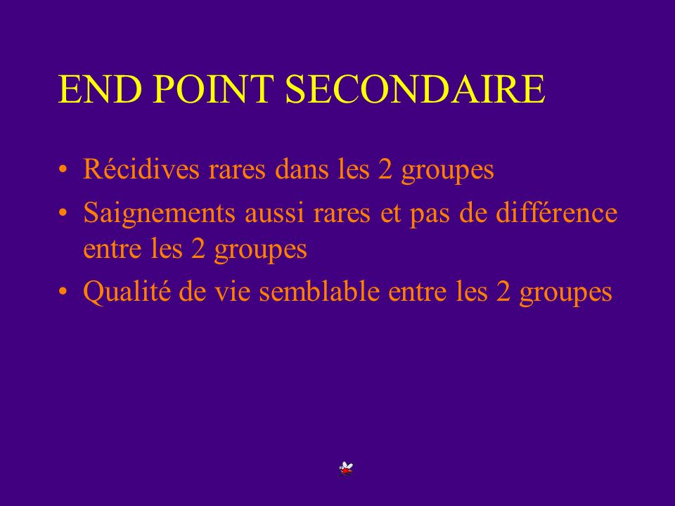 END POINT SECONDAIRE Récidives rares dans les 2 groupes