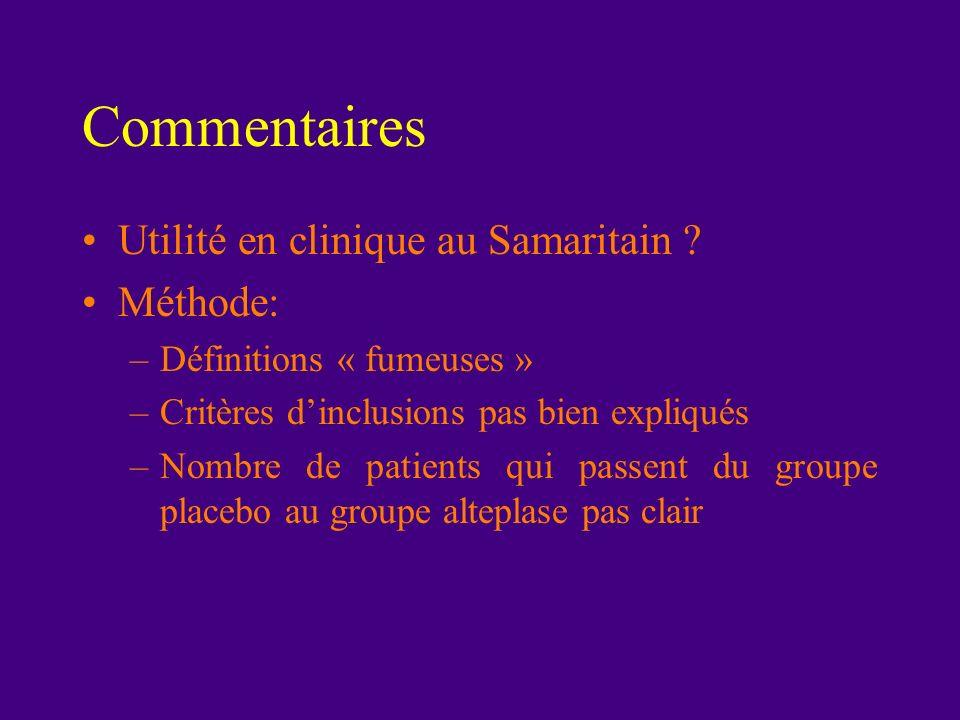 Commentaires Utilité en clinique au Samaritain Méthode: