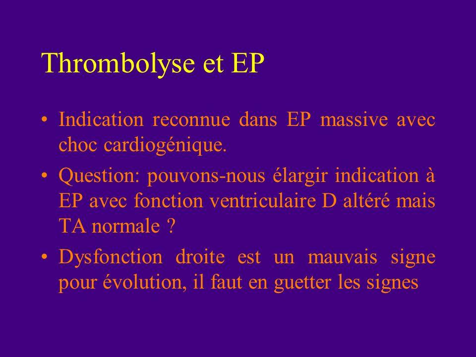 Thrombolyse et EP Indication reconnue dans EP massive avec choc cardiogénique.