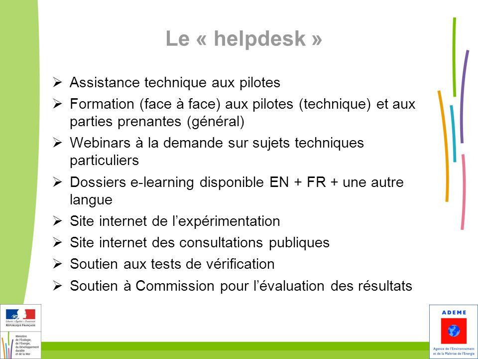 Le « helpdesk » Assistance technique aux pilotes