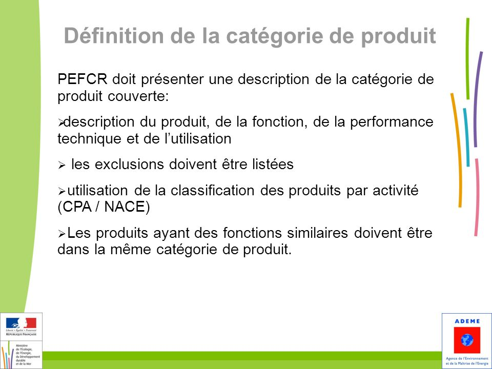 Définition de la catégorie de produit