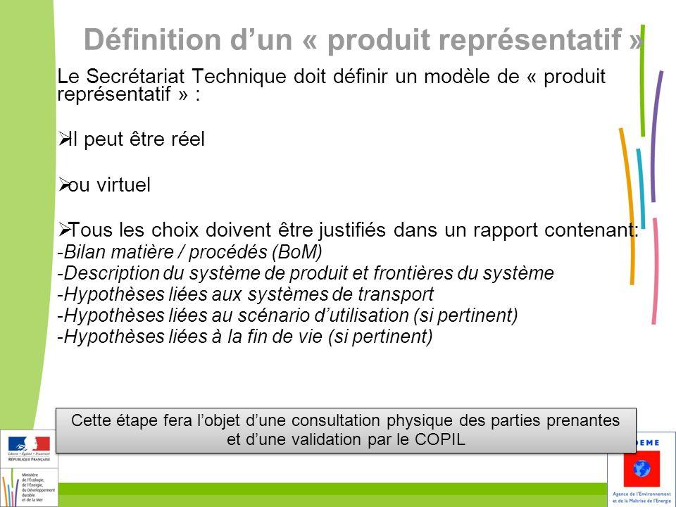 Définition d'un « produit représentatif »