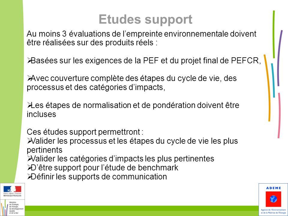 Etudes support Au moins 3 évaluations de l'empreinte environnementale doivent être réalisées sur des produits réels :