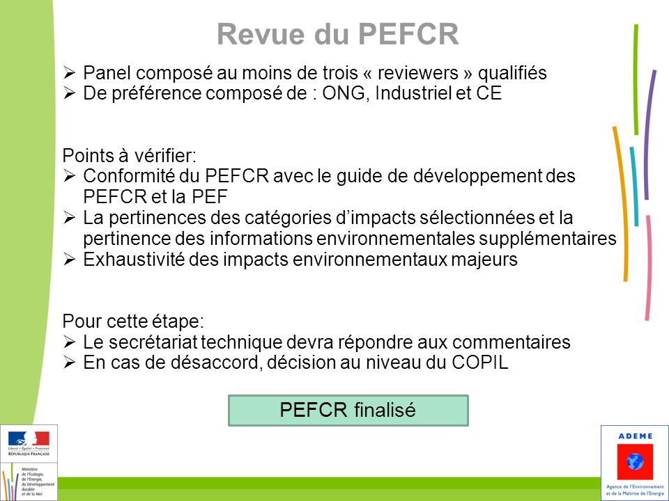 Revue du PEFCR PEFCR finalisé