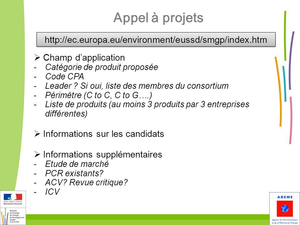 Appel à projets http://ec.europa.eu/environment/eussd/smgp/index.htm