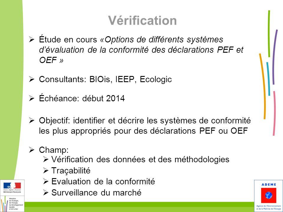 Vérification Étude en cours «Options de différents systèmes d'évaluation de la conformité des déclarations PEF et OEF »