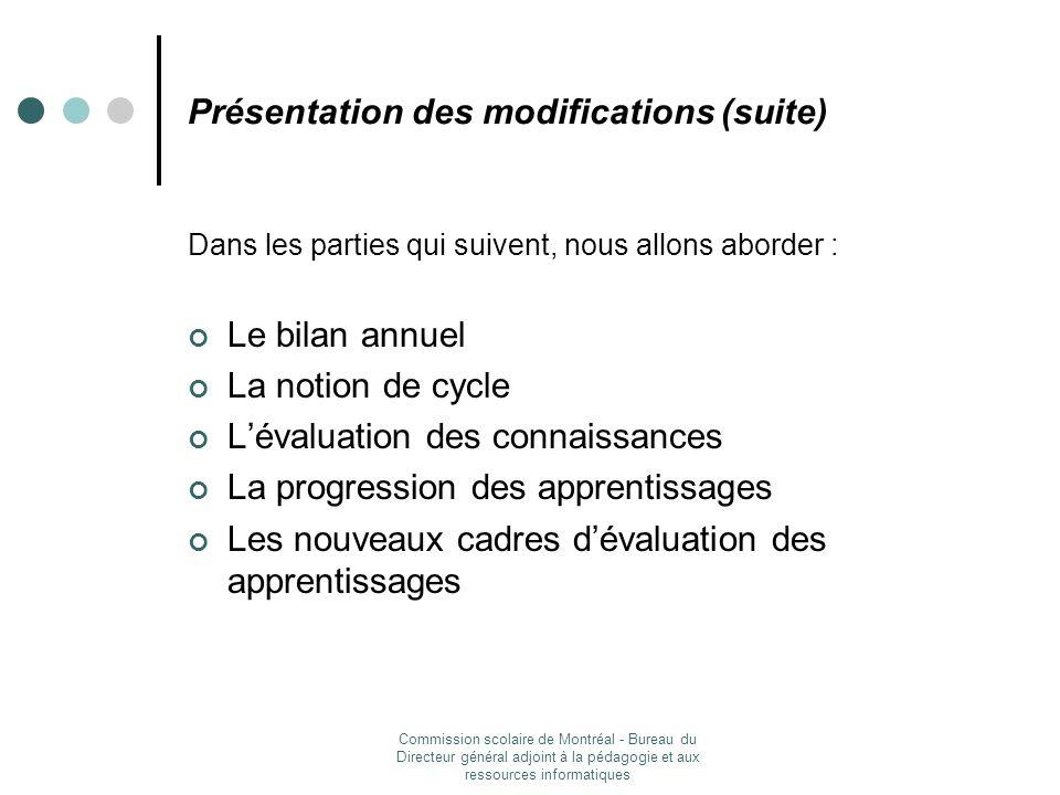 Présentation des modifications (suite)