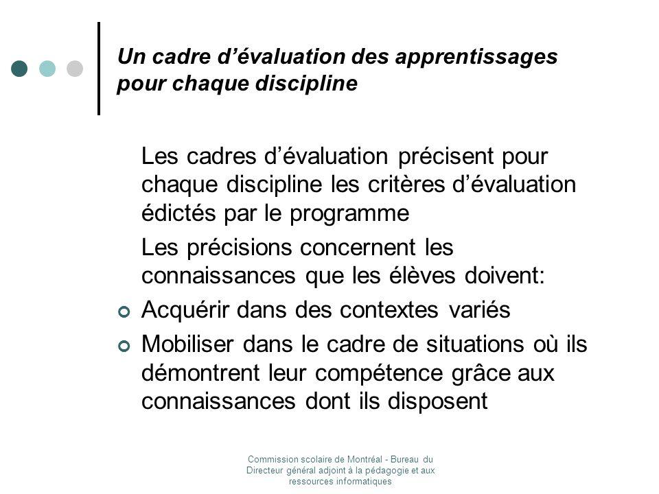 Un cadre d'évaluation des apprentissages pour chaque discipline