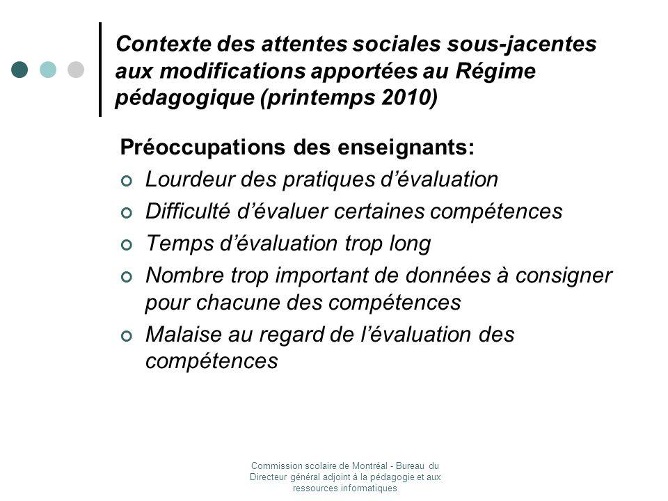 Préoccupations des enseignants: Lourdeur des pratiques d'évaluation
