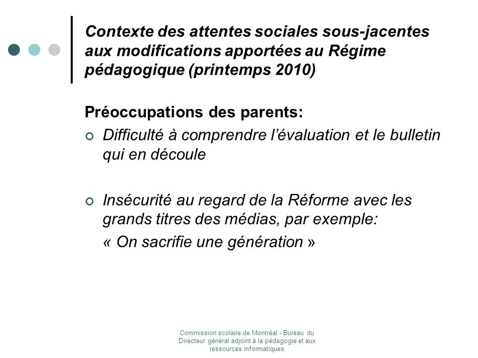 Préoccupations des parents: