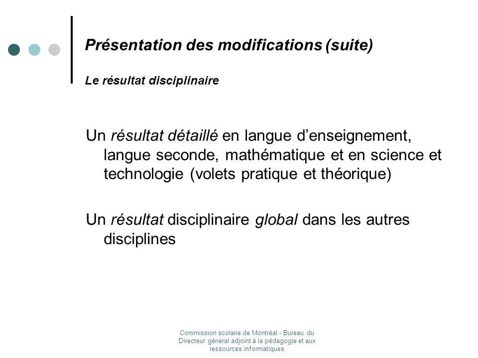 Présentation des modifications (suite) Le résultat disciplinaire