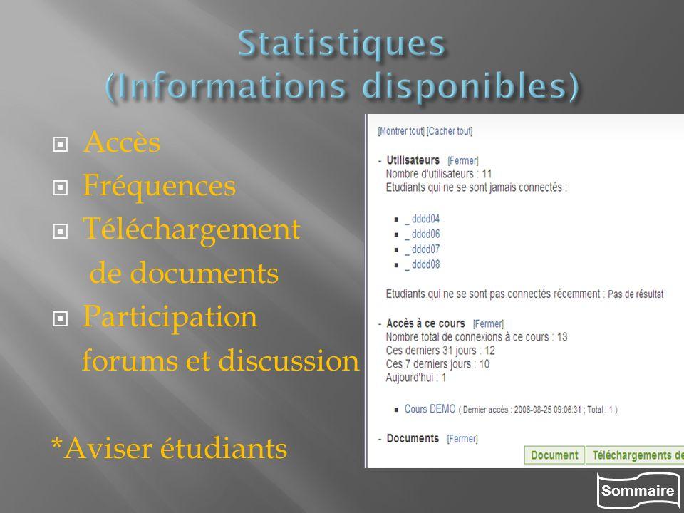 Statistiques (Informations disponibles)