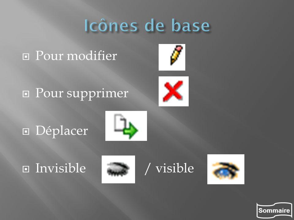 Icônes de base Pour modifier Pour supprimer Déplacer