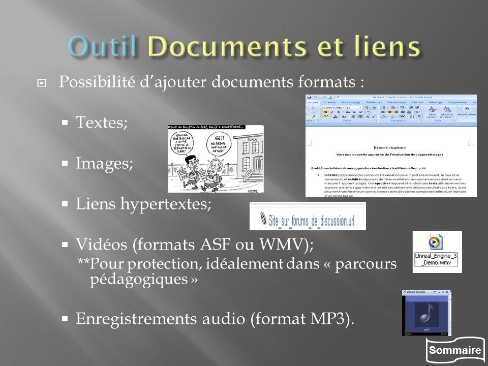 Outil Documents et liens