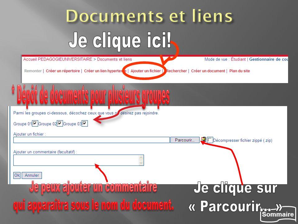 Documents et liens Je clique ici!