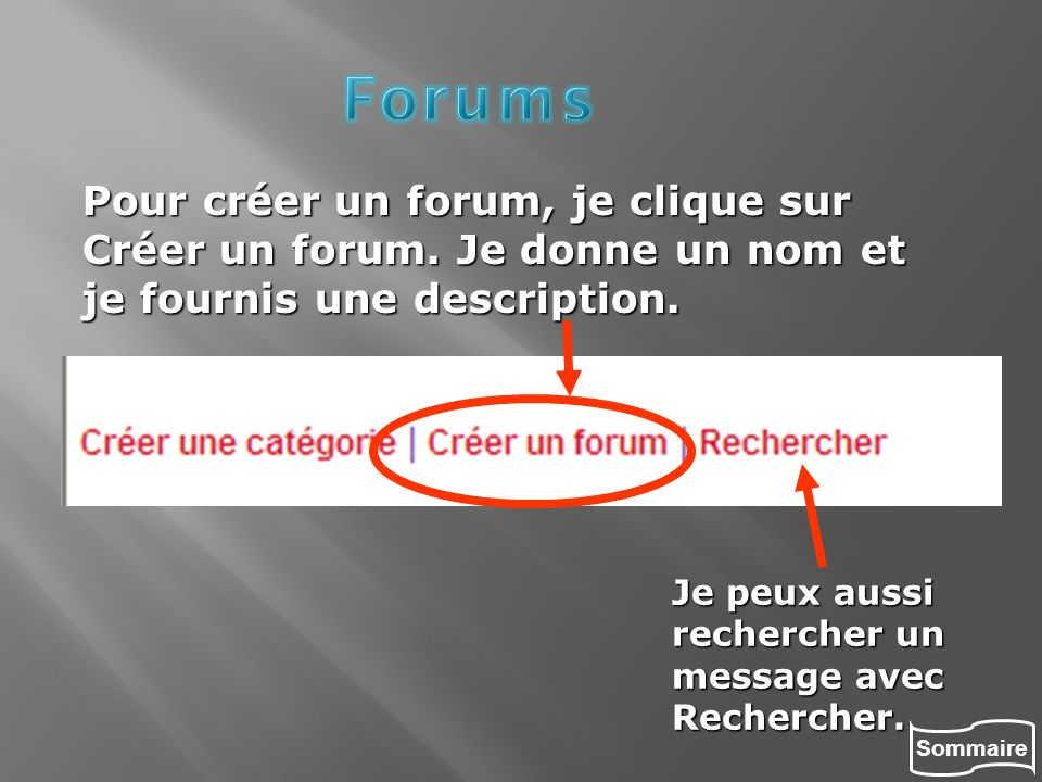 Forums Pour créer un forum, je clique sur Créer un forum. Je donne un nom et je fournis une description.