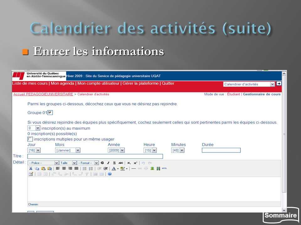 Calendrier des activités (suite)