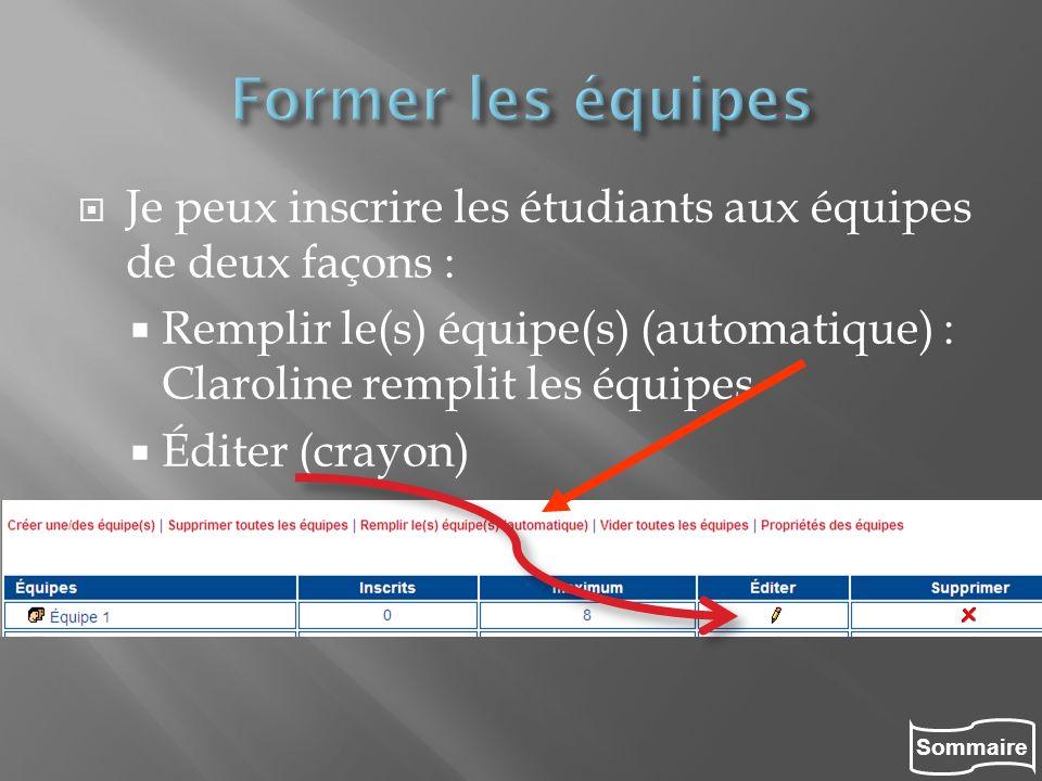 Former les équipes Je peux inscrire les étudiants aux équipes de deux façons : Remplir le(s) équipe(s) (automatique) : Claroline remplit les équipes.