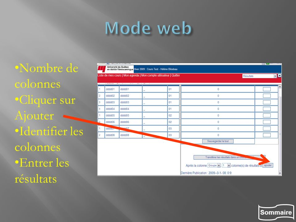 Mode web Nombre de colonnes Cliquer sur Ajouter