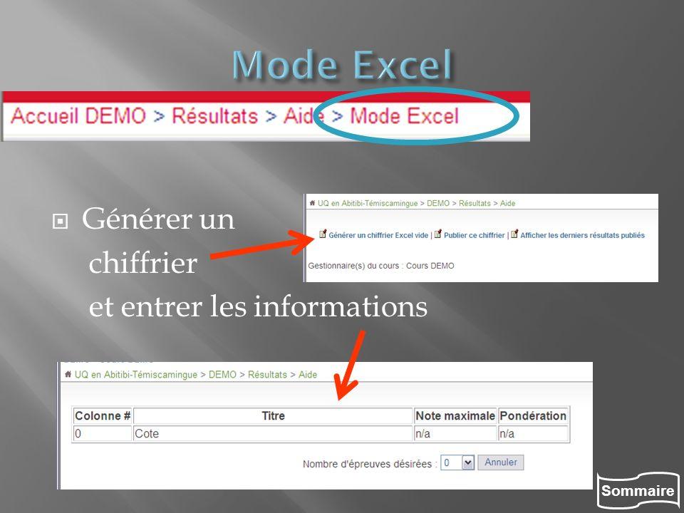 Mode Excel Générer un chiffrier et entrer les informations