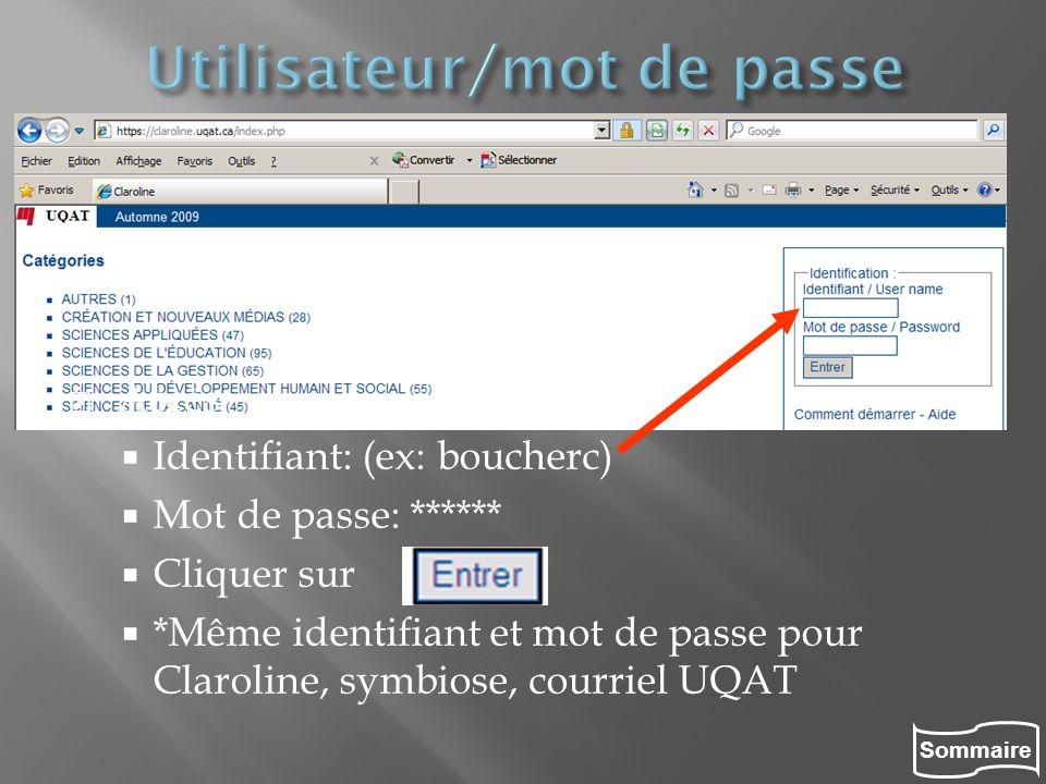 Utilisateur/mot de passe
