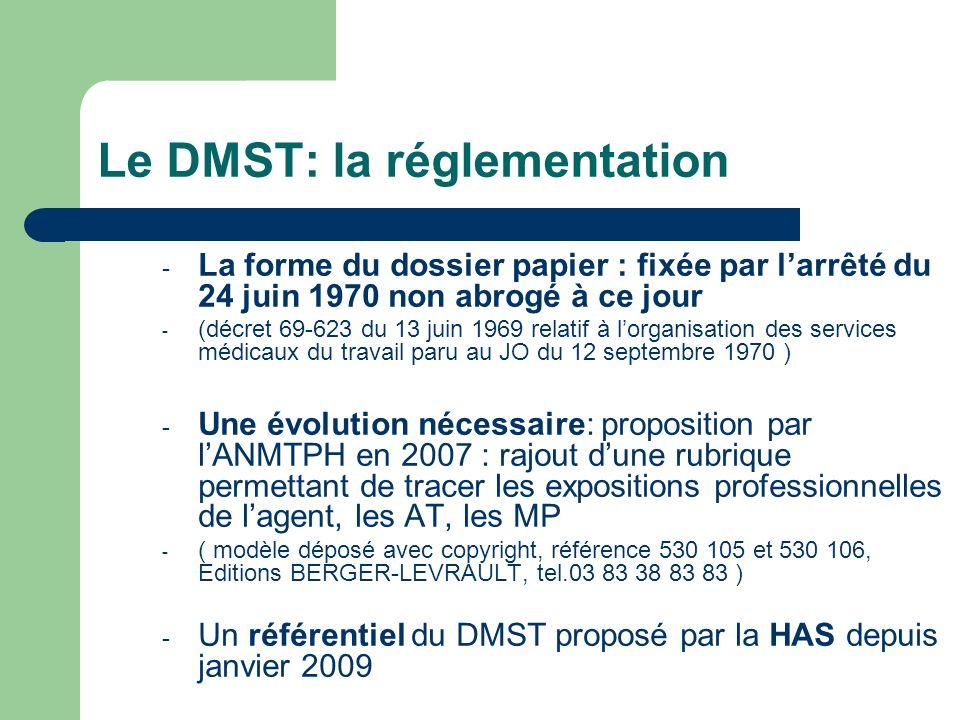 Le DMST: la réglementation