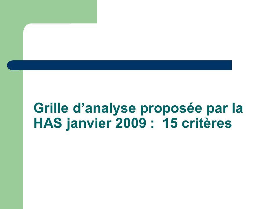 Grille d'analyse proposée par la HAS janvier 2009 : 15 critères