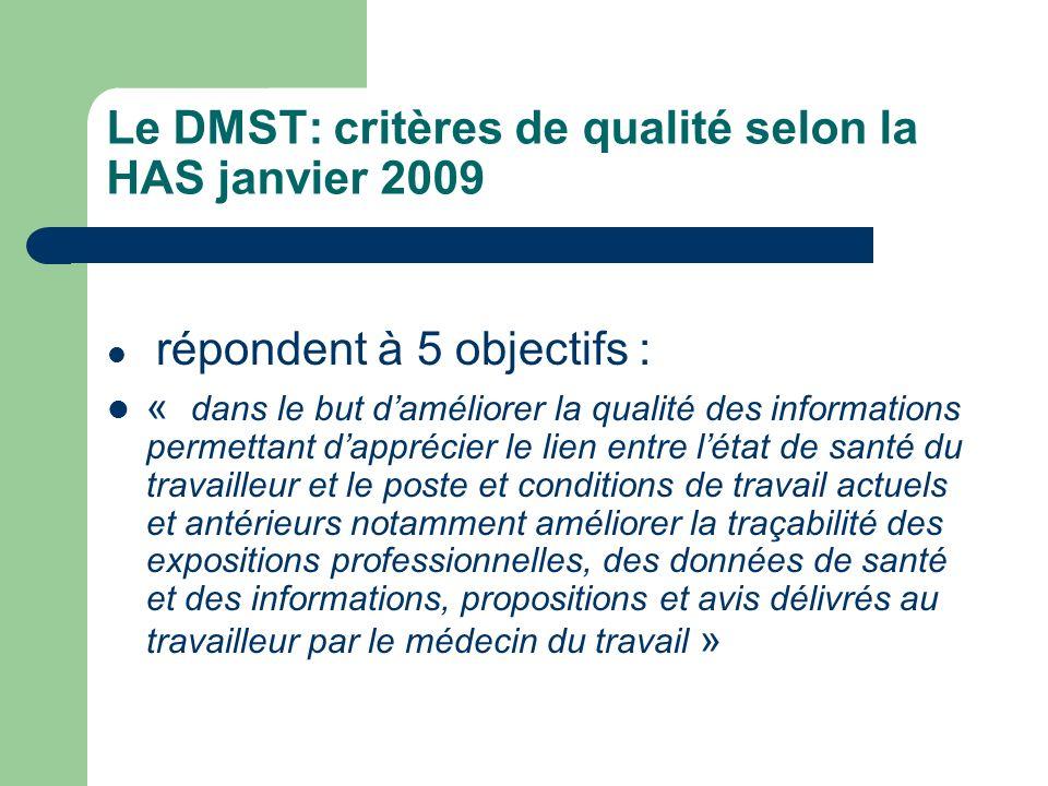 Le DMST: critères de qualité selon la HAS janvier 2009