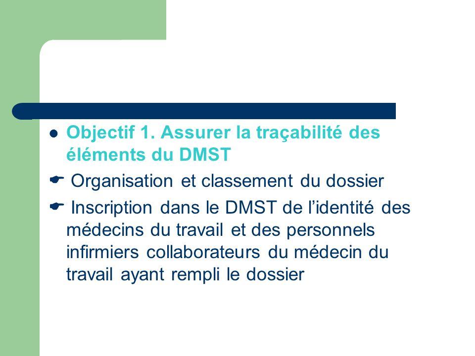 Objectif 1. Assurer la traçabilité des éléments du DMST