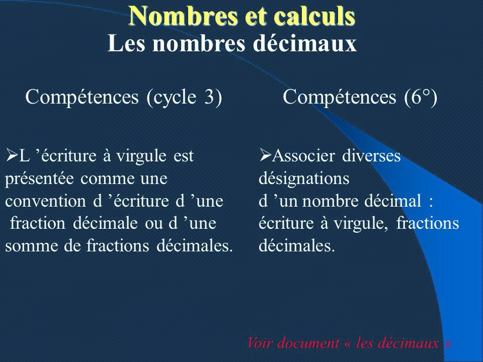 Nombres et calculs Les nombres décimaux Compétences (cycle 3)