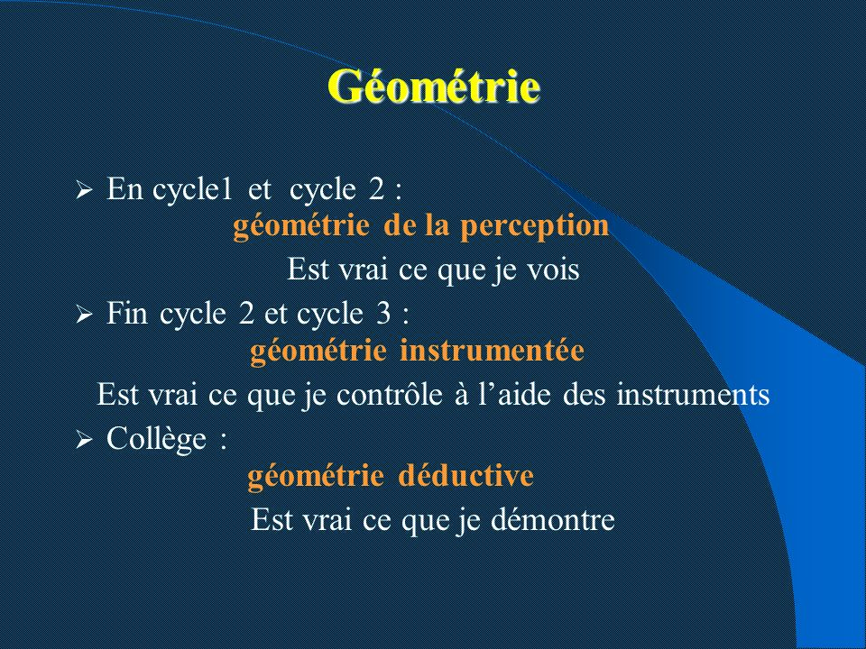 Géométrie En cycle1 et cycle 2 : géométrie de la perception