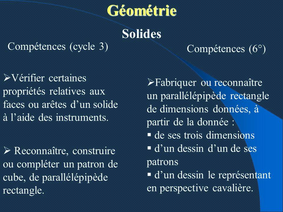 Géométrie Solides Compétences (cycle 3) Compétences (6°)