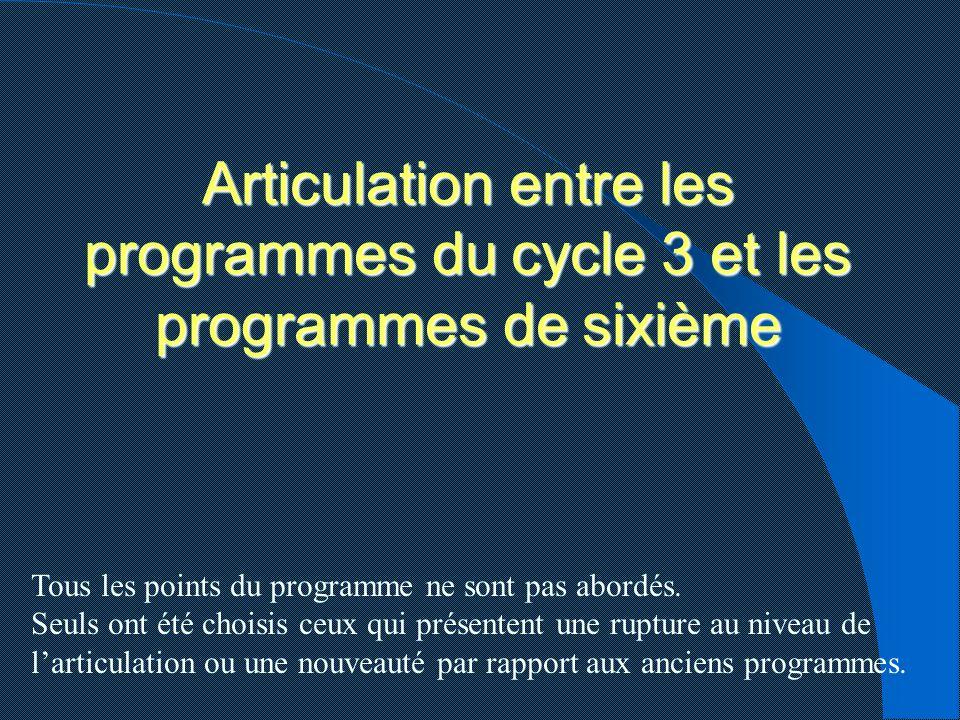 Articulation entre les programmes du cycle 3 et les programmes de sixième