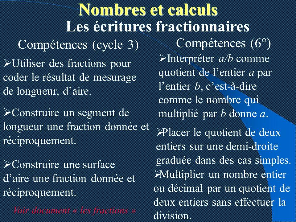 Nombres et calculs Les écritures fractionnaires Compétences (6°)
