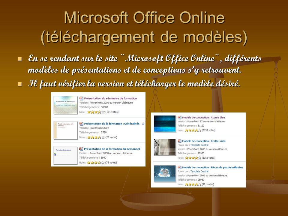 Microsoft Office Online (téléchargement de modèles)