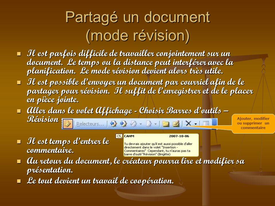 Partagé un document (mode révision)