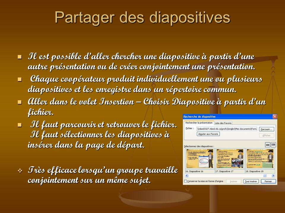 Partager des diapositives