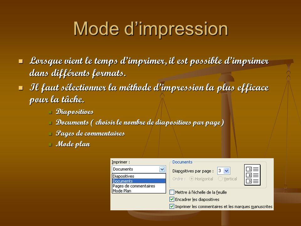 Mode d'impression Lorsque vient le temps d'imprimer, il est possible d'imprimer dans différents formats.