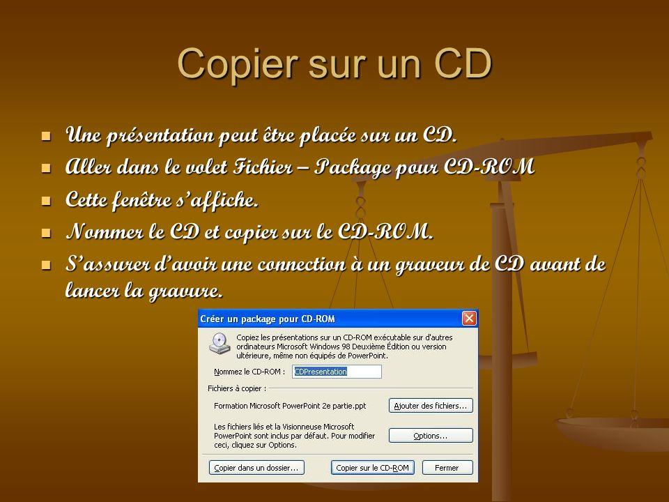 Copier sur un CD Une présentation peut être placée sur un CD.