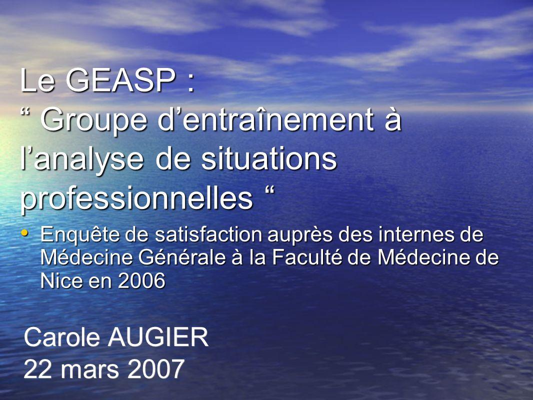 Le GEASP : Groupe d'entraînement à l'analyse de situations professionnelles