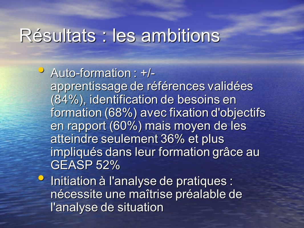 Résultats : les ambitions